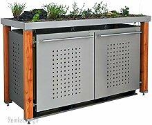 Mülltonnenbox aus Edelstahl mit Lärchepfosten
