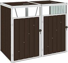 Mülltonnenbox für 2 Mülltonnen Braun
