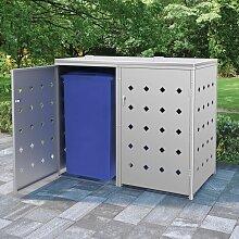 Mülltonnenbox für 2 Tonnen 240 L Edelstahl -