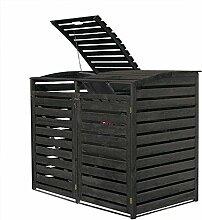 Mülltonnenbox für zwei 240 Liter Tonnen in Holz,