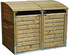 Mülltonnenbox Holz LEO 2 x 240 Liter