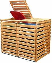 Mülltonnenbox Holz V für Zwei 240 Liter Tonnen,