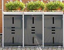 Mülltonnenbox Metall für 3 Mülltonnen mit