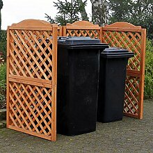 Mülltonnenspalier REX + Erweiterung Spaliersystem für 2 Mülltonnen Kiefer massiv