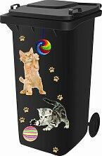 Mülltonnensticker, Mülltonnenaufkleber, Katzen