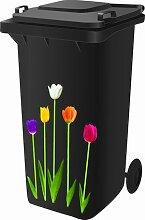 Mülltonnensticker, Mülltonnenaufkleber, Motiv: Tulpen