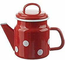 Münder-Emaille - Teekanne - Rot mit weißen