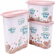 Müsli Cornflakes Schüttdose große Vorratsdose 2,4, 1,7 und 1,2 Liter (Beige)