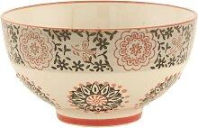 Müslischale, Schüssel mit Muster Keramik creme D