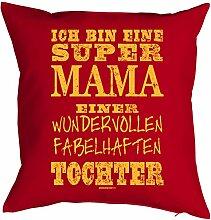 Mütter Bezug für Kissen 40 x 40cm - SUPER MAMA …einer TOCHTER - Dankeschön - Geschenke zu Weihnachten Muttertag Geburtstag - Print Kissenhülle in rot : )