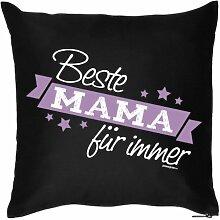 Mütter Geschenkidee - Kissen mit Innenkissen - Mama für immer zur Geburt und Muttertag - 40 x 40 cm - in schwarz : )