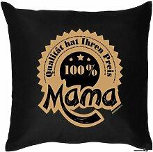 Mütter Geschenkidee - Kissenbezug - 100 Prozent Mama mit Herz Danke sagen - 40 x 40 cm - in schwarz : )