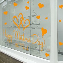 Mütter Tag Wand & Fenster Aufkleber Shop Fenster Display Love Decor Aufkleber Shop NEW DIY Wand Fenster Wand Decor Wall Sticker Wall Art Aufkleber Aufkleber Aufkleber Aufkleber Wandbild Décor DIY Deco Abnehmbare Wandaufkleber Colorful Aufkleber, Vinyl, Orange, Large-As-Pictured