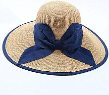 Mützen XIAOYAN Hüte Raffia Gras handgemachte Frauen Strohhut Strand Hut im Freien Sonnenschutz Kappe Sommer Casual Frauen blau schwarz Visor zusammenklappbar Anti-UV Leicht zu tragen (Farbe : Blau)