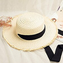 Mützen XIAOYAN Khaki Frauen Outdoor-Sonnenschutz-Kappe Casual Urlaub zusammenklappbar breitkrempigen Hut Sommer Beige Visor Windproof Beach Hut Anti-UV-Khaki (Farbe : Beige)
