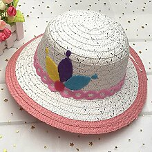 Mützen XIAOYAN Kind Lässig Sommer Sonnenschutz Holiday Visier Anti-UV Winddichte Outdoor Sommer Hut Beach Hut blau Pink Orange gelb Khaki lila (Farbe : Pink)