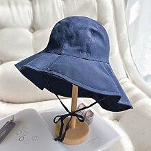 Mützen XIAOYAN Resort-Stil Damen-Sonnenschutz-Kappe Casual Sommer Outdoor-Visor Urlaub Strand Hut zusammenklappbar Windproof Anti-UV Einstellbare Größe Rosa Farbe blau schwarz gelb (Farbe : Blau)