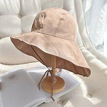 Mützen XIAOYAN Resort-Stil Damen-Sonnenschutz-Kappe Casual Sommer Outdoor-Visor Urlaub Strand Hut zusammenklappbar Windproof Anti-UV Einstellbare Größe Rosa Farbe blau schwarz gelb (Farbe : Pink)