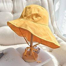 Mützen XIAOYAN Resort-Stil Damen-Sonnenschutz-Kappe Casual Sommer Outdoor-Visor Urlaub Strand Hut zusammenklappbar Windproof Anti-UV Einstellbare Größe Rosa Farbe blau schwarz gelb (Farbe : Gelb)
