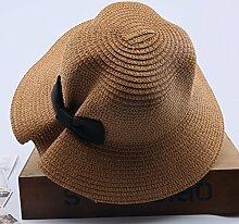 Mützen XIAOYAN Visor Outdoor-Frauen-Sonnenschutz-Kappe Casual Urlaub zusammenklappbar breitkrempigen Hut Sommer Winddicht Strand Hut Anti-UV-Khaki weiß Beige rosa blau (Farbe : Khaki)