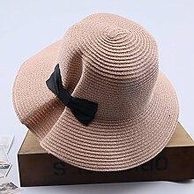 Mützen XIAOYAN Visor Outdoor-Frauen-Sonnenschutz-Kappe Casual Urlaub zusammenklappbar breitkrempigen Hut Sommer Winddicht Strand Hut Anti-UV-Khaki weiß Beige rosa blau (Farbe : Pink)