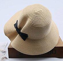 Mützen XIAOYAN Visor Outdoor-Frauen-Sonnenschutz-Kappe Casual Urlaub zusammenklappbar breitkrempigen Hut Sommer Winddicht Strand Hut Anti-UV-Khaki weiß Beige rosa blau (Farbe : Beige)