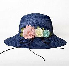 Mützen XIAOYAN Women's Sun Schutzkappe Strohhut Sommer Lässig Urlaub Visier Anti-UV-Sommer Hut im Freien Strand Hut blau Rosa Beige weiß rosa rot (Farbe : Blau)