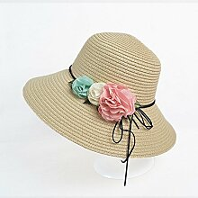 Mützen XIAOYAN Women's Sun Schutzkappe Strohhut Sommer Lässig Urlaub Visier Anti-UV-Sommer Hut im Freien Strand Hut blau Rosa Beige weiß rosa rot (Farbe : Beige)
