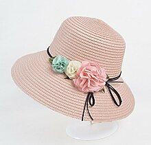 Mützen XIAOYAN Women's Sun Schutzkappe Strohhut Sommer Lässig Urlaub Visier Anti-UV-Sommer Hut im Freien Strand Hut blau Rosa Beige weiß rosa rot (Farbe : Pink)