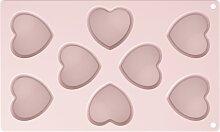 Muffinform Backform aus Silikon HERZ rosa 29x18cm