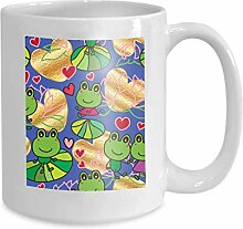 Mug Coffee Tea Cup Frog Waiting Love Abstract