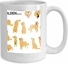 Mug Coffee Tea Cup Golden Retriever Dog Poses Dog
