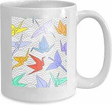 Mug Coffee Tea Cup Origami White Paper Cranes Set