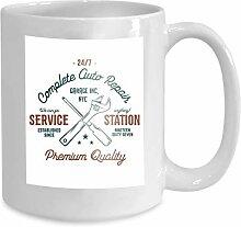 mug coffee tea cup service station vintage label