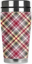 Mugzie Plaid Travel Mug with Insulated Wetsuit Cover, 16 oz, Multicolor by Mugzie