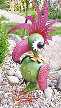 Mui Garten Figur lustige Haare Vogel Papageno Metall Bunt Deko Windlicht H58 cm Garden Decor