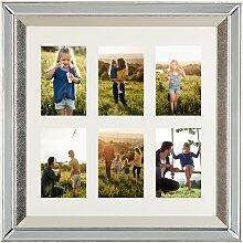 Multi-Bilderrahmen Silber Spiegeleffekt 50 x 50 cm