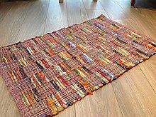 Multi Farbe & Rosa Patchwork Flachgewebe indischen Flickenteppich, multi, 70cm x 140cm