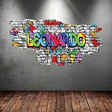 Multi Full Farbe personalisierbar 3D Graffiti Namen gebrochenen Art Wand Aufkleber Aufkleber Wandbild, multi, Medium: 100cm(W) x 56cm (H)