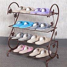 Multi Tier Schuh Rack Eisen Einfache Lagerung Schrank Möbel Kreative Einfachheit Schuh Organizer Regale ( Farbe : Braun , größe : B )