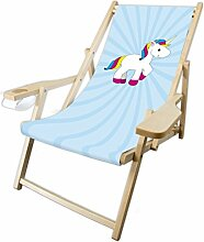 MultiBrands® Holz-Liegestuhl, mit Armlehne und