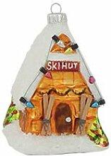 Multicolor Ski Hütte 11cm, Glasornament,