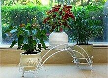 Multifunktionaler Garten geschmiedeter Blumenrahmen / Innen Balkon Wohnzimmer Blumenständer, drei Etagen ( Farbe : Weiß )