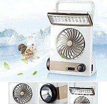 Multifunktionaler Solar-Ventilator 3 in 1 Tragbare Taschenlampe mit Augenschutz LED Tischleuchte Flash Sonnenkollektor Adapterstecker für Camping zu Hause (Gold)