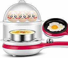 Multifunktions Doppel Eierkocher Mini Mini Eierkocher Automatische Power Bratpfanne Dreibettzimmer Frühstück Maschine,Pink