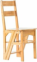 Multifunktions-Home Fold Dual-Use-Massivholz Schritt Hocker Indoor vier Schritte Leiter Stühle 35 * 38 * 90cm ( Farbe : A )