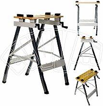 Multifunktions Werkbank aus Metall klappbar–Tischplatte aus Holz mit Schraubstock