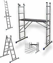 Multifunktionsleiter, Gerüst mit 2x6 Stufen und Arbeitsplattform