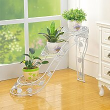 Multilayer Eisen Blumentopf Halter innerhalb und außerhalb des Raumes Wohnzimmer Balkon hochhackige Schuhe kreative Blume Regal Scindapsus hängende Orchideen ( Farbe : Weiß , größe : A* )
