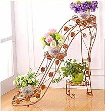 Multilayer Eisen Blumentopf Halter innerhalb und außerhalb des Raumes Wohnzimmer Balkon hochhackige Schuhe kreative Blume Regal Scindapsus hängende Orchideen ( Farbe : Bronze , größe : B* )